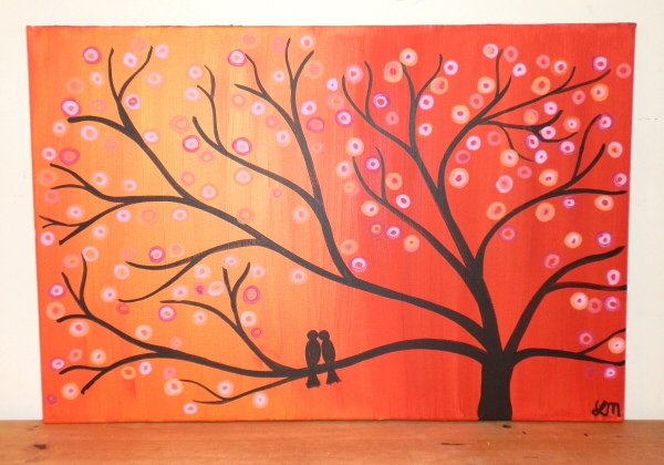 Golden sunset 30 x 20 whimsical tree art painting two birds in a tree